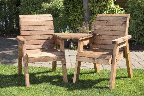 Solid Wood Garden / Patio 2 Seater Set With Removable Angled Drinks Tray-23