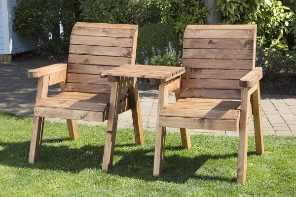 Solid Wood Garden / Patio 2 Seater Set With Removable Straight Drinks Tray-27