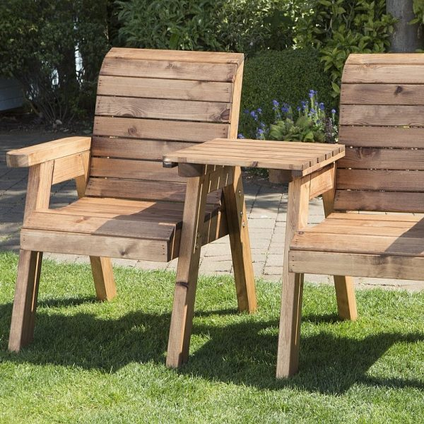 Solid Wood Garden / Patio 2 Seater Set With Removable Straight Drinks Tray-0