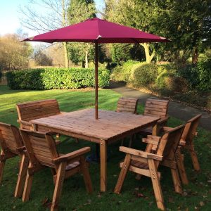 Garden Patio 8 Seater Deluxe Square Entertaining Dinning Table Chair and Bench Set (6 Chair/1 Bench)