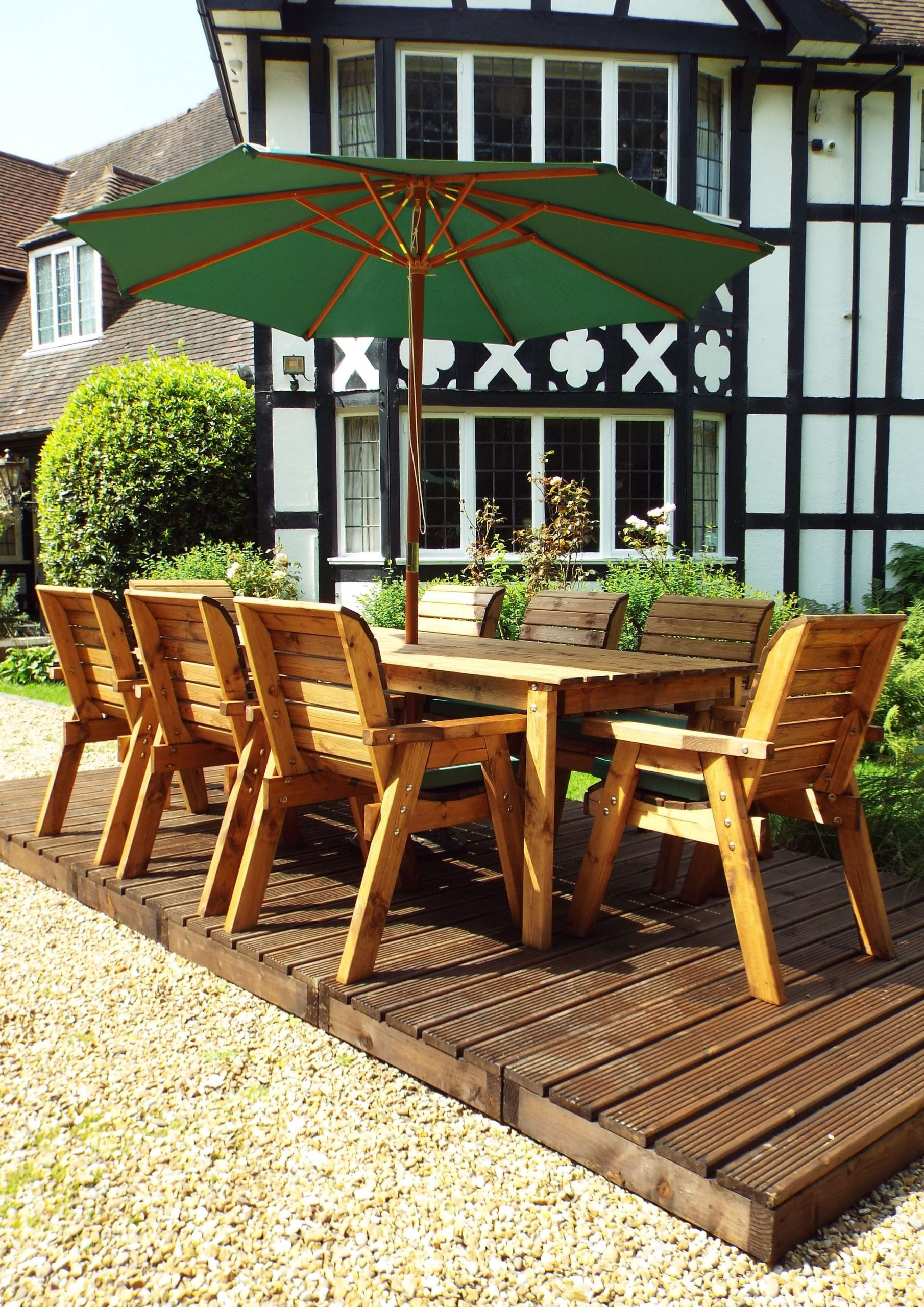 Eight Seater Solid Wood Rectangular Garden / Patio Table ...