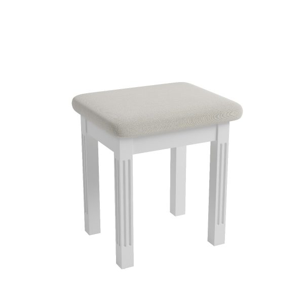 Sally Classic White Upholstered Stool-0