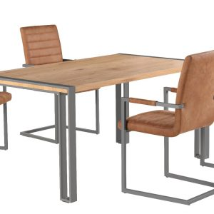 Anslo Dining Table with 4 Brown Leather Dining Chairs-0