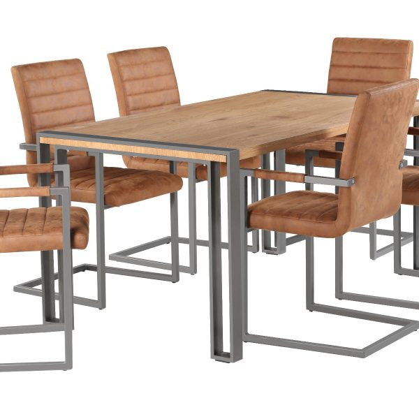 Anslo Dining Table with 6 Brown Leather Dining Chairs-0