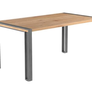Anslo Bespoke Oak Wood and Metal Dining Table-0