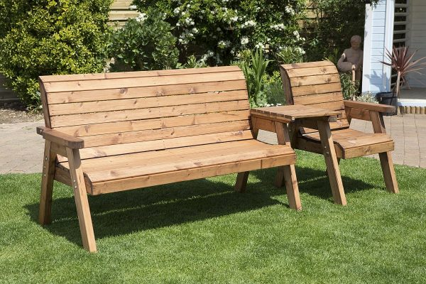 Solid Wood Traditional Three Seater Bench-56