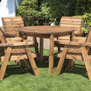 Four Seater Circular Table and Four Chairs Dining Set-0
