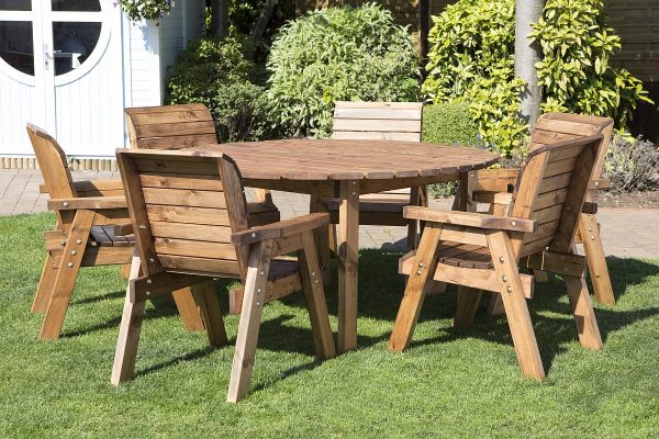 Six Seater Solid Wood Round Garden Patio Table-129