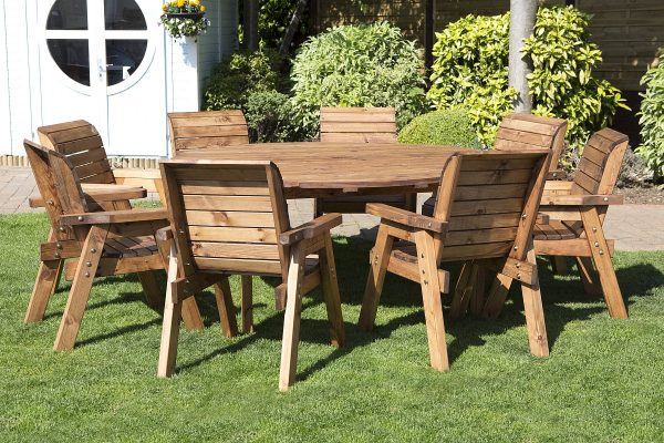 Eight Seater Solid Wood Round Garden Patio Table-133