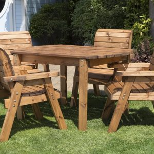 Four Seater Solid Wood Rectangular Garden / Patio Table and Chair Set-0