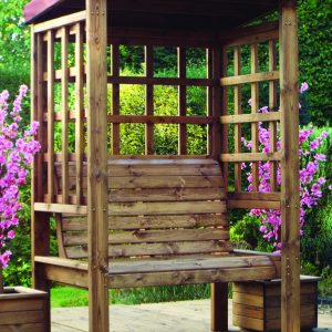 Bramham 2 Seat Arbour (Burgundy Roof Cover)-0