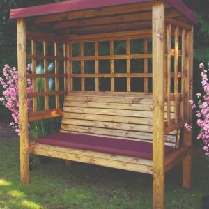 Bramham 3 Seat Arbour (Burgundy Roof Cover)-0