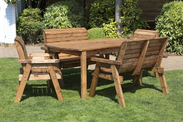 Six Seater Solid Wood Rectangular Garden Patio Table-141