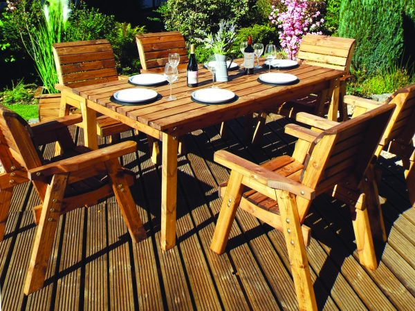 Six Seater Solid Wood Rectangular Lg Garden / Patio Table and Chair Set-0