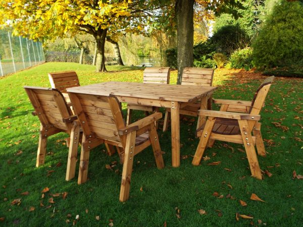 Six Seater Solid Wood Rectangular Lg Garden / Patio Table and Chair Set-108