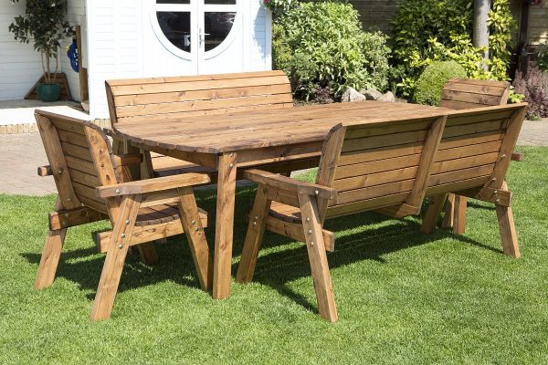Eight Seater Solid Wood Rectangular XL Garden / Patio Table, Benches and Chair Set-0