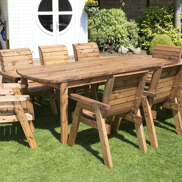 Eight Seater Solid Wood Rectangular Garden / Patio Table and Chairs Set-0