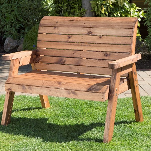 Solid Wood Traditional Two Seater Bench-0