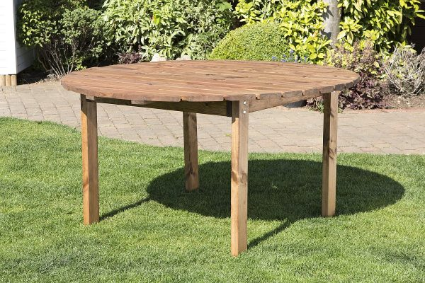 Six Seater Solid Wood Round Garden Patio Table-0