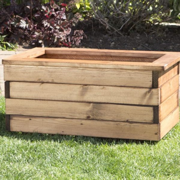 Small Solid Wood Trough Planter -0