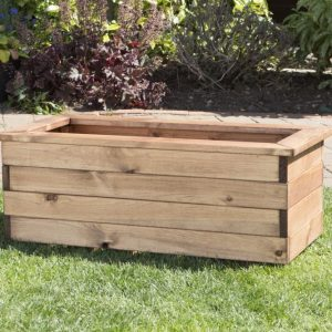 Medium Solid Wood Trough Planter -0