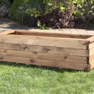 Large Solid Wood Trough Planter-0