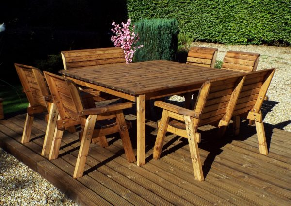 Eight Seater Solid Wood Square Garden Patio Table-155