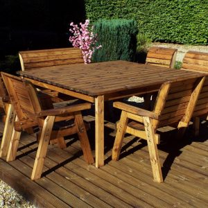 8 Seater Deluxe Square Table Set (4 Chairs / 2 Benches)-0