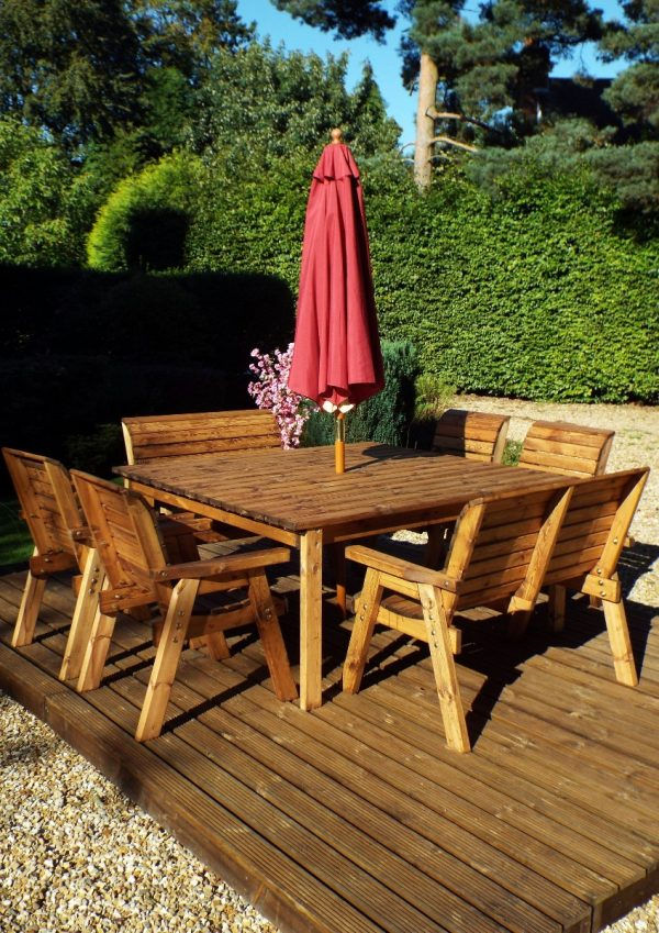Eight Seater Solid Wood Square Garden Patio Table-154