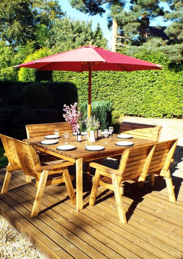 Eight Seater Solid Wood Square Garden Patio Table-156