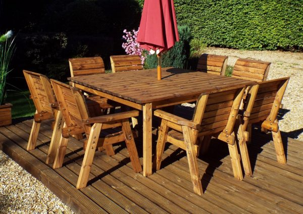 Eight Seater Solid Wood Square Garden Patio Table-158