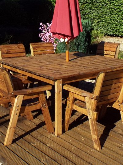 8 Seater Deluxe Square Table Set All Chairs-0