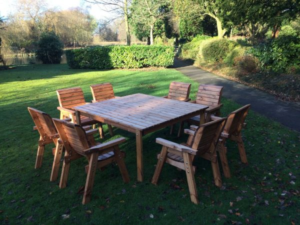 Eight Seater Solid Wood Square Garden Patio Table-157