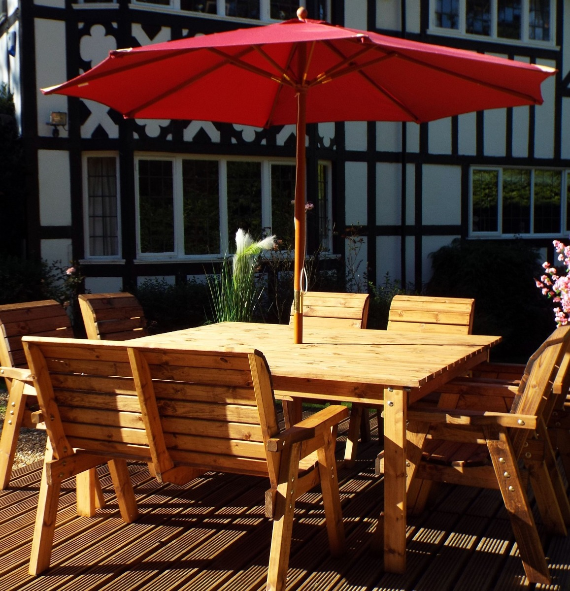 Solid Wood Square Garden Patio Table Choose 2, 4 or 8 ...