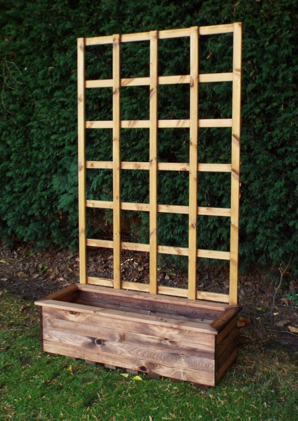 Traditional Large Trough Planter with Trellis-191