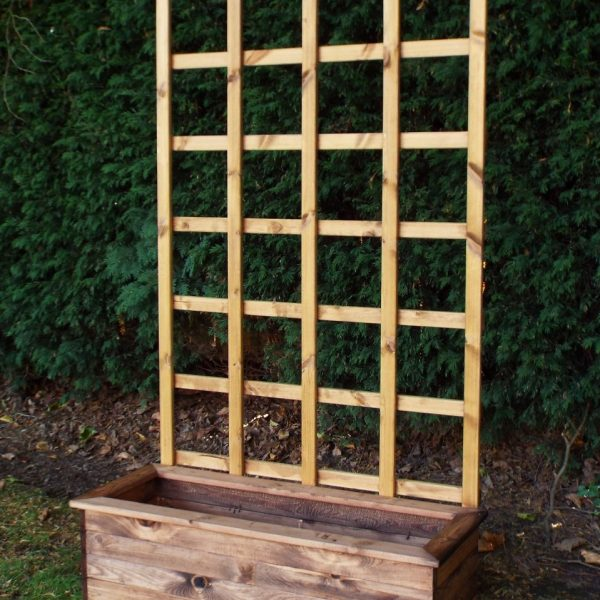 Traditional Large Trough Planter with Trellis-0