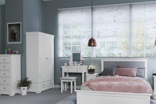 Sally Classic White Upholstered Stool-287