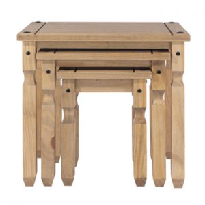 Farmhouse Antique Solid Pine Nest of Tables-0