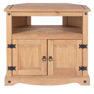 Farmhouse Antique Pine Corner TV Cabinet-0