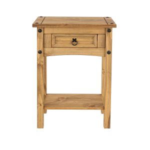 Farmhouse Antique Pine 1 Drawer Hall Table With Shelf-0