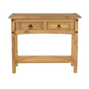 Farmhouse 2 Drawer Antique Pine Hall Table with Shelf-0