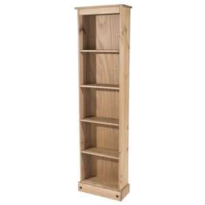 Farmhouse Antique Solid Pine Tall Narrow Bookcase-0