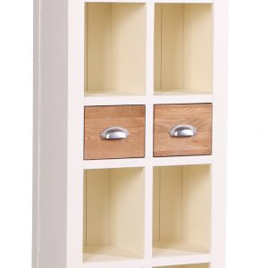 Tall Two Drawers Solid Oak Bookcase-Linen-0