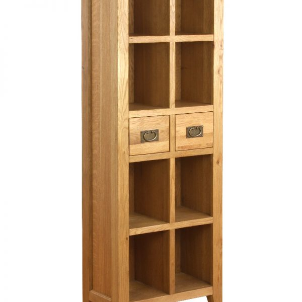 Tall Two Drawers Solid Oak Bookcase-Bespoke Oak-0