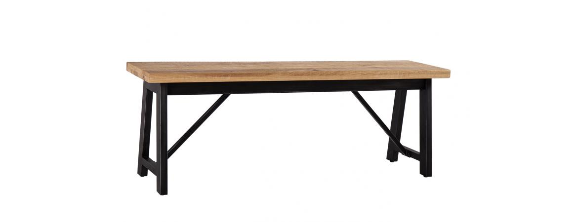Industrial Iron and Oak Dining Bench-0