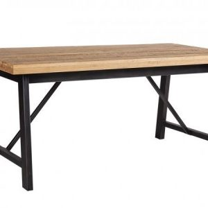 Industrial Iron and Oak Dining Table-0